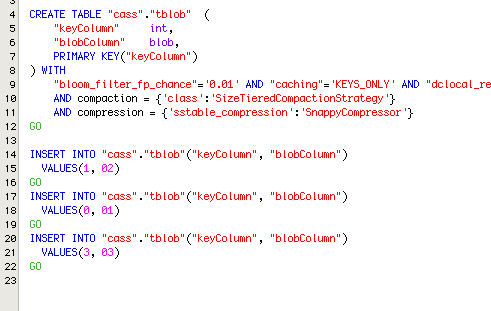 10369: Cassandra - INSERT statement for blob data type | Aqua Data