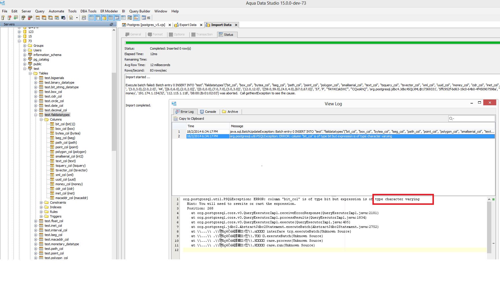11727: Import fail for different datatypes in PostgreSQL
