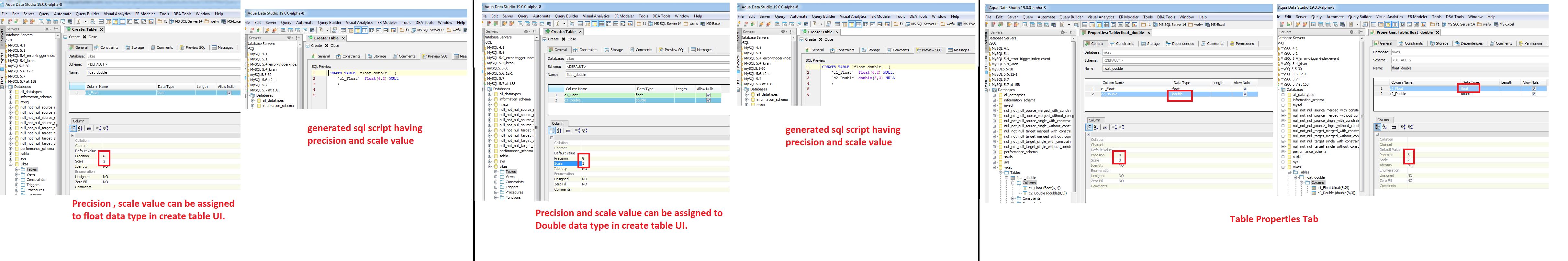 13020: Mysql 5 7: Precision and Scale Values options are
