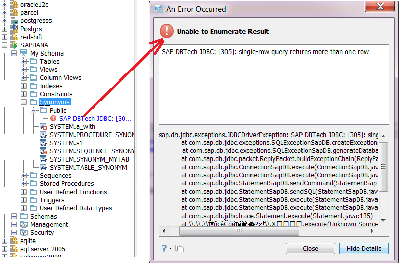 13578: An Error Occured with com sap db jdbc exceptions