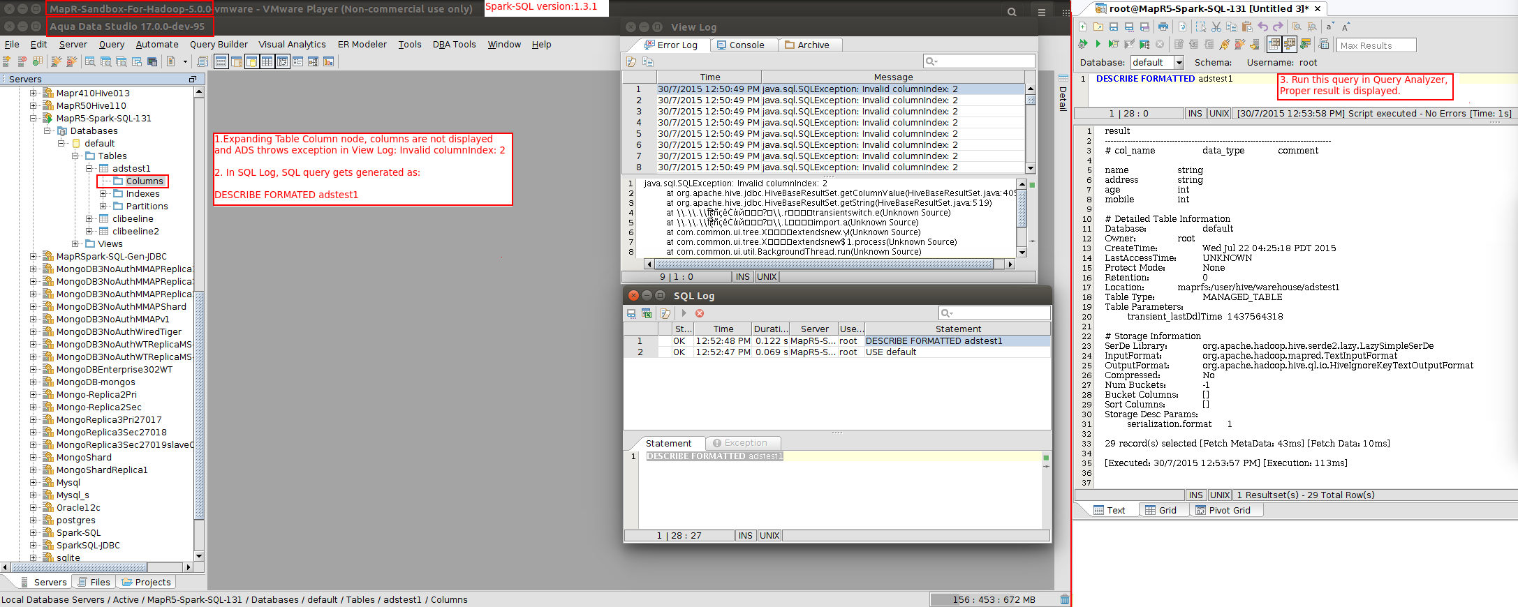 13617: Spark-SQL - Expanding Table-column node, columns are