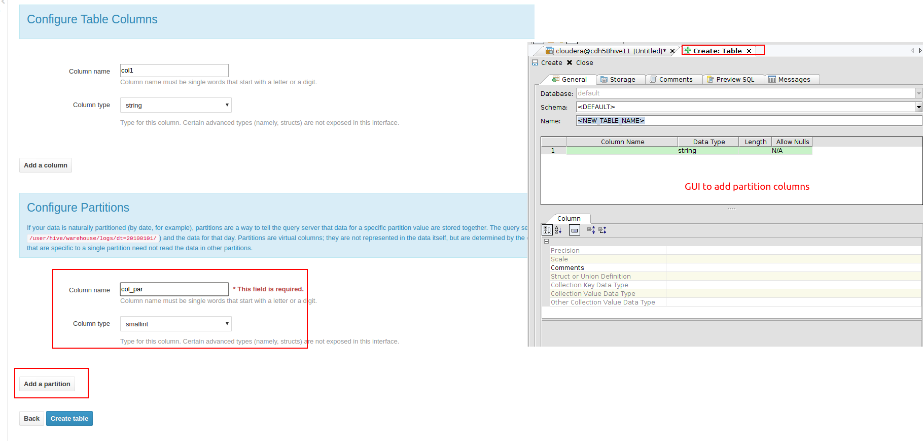 13790: Hive - Add support for partitions in create, alter