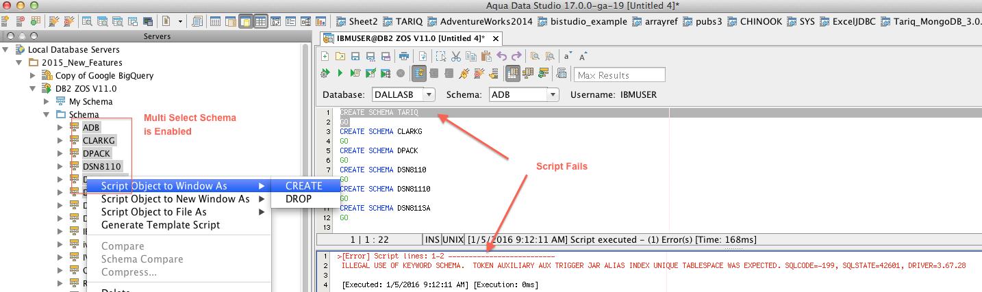 14138: DB2 z/OS Script to Window Create Schema gives incorrect SQL