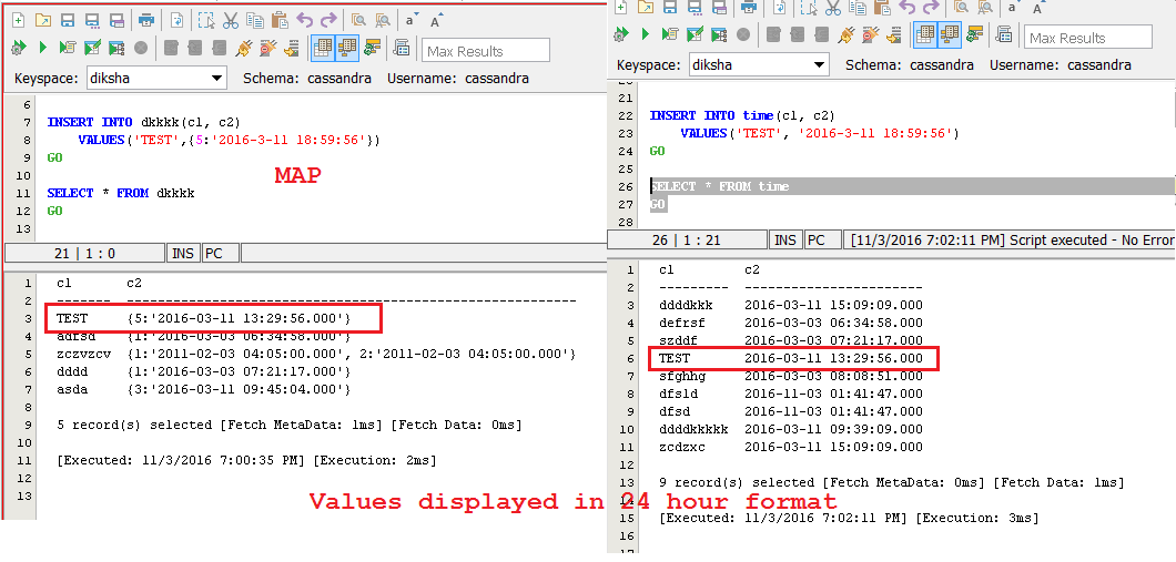 14302: Cassandra Results Format for NONE on Timestamp