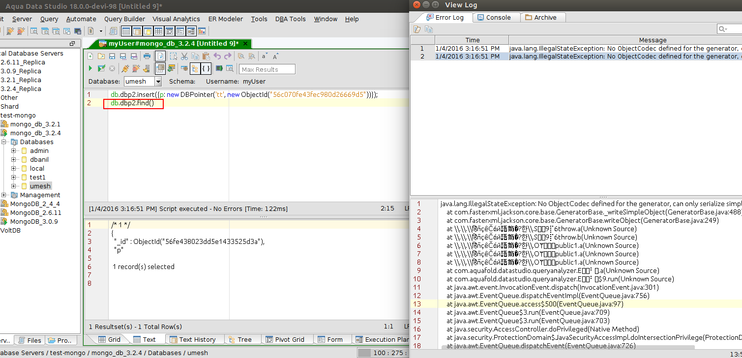 14330: Can not insert value for DBPointer data type from ADS   Aqua