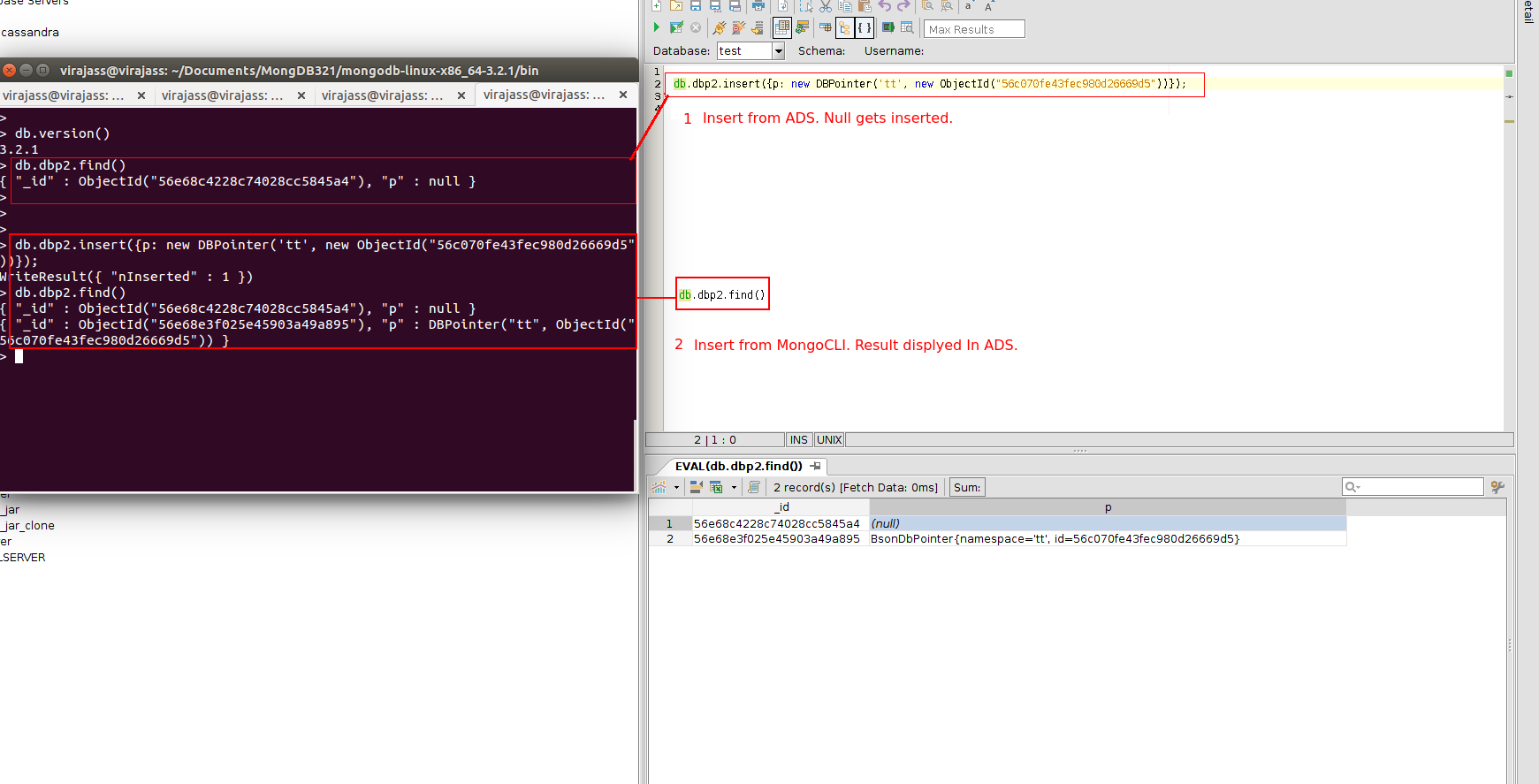 14330: Can not insert value for DBPointer data type from ADS