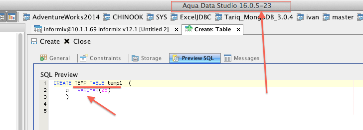 14672: Incorrect SQL for Temporary tables in Informix 12 1 | Aqua