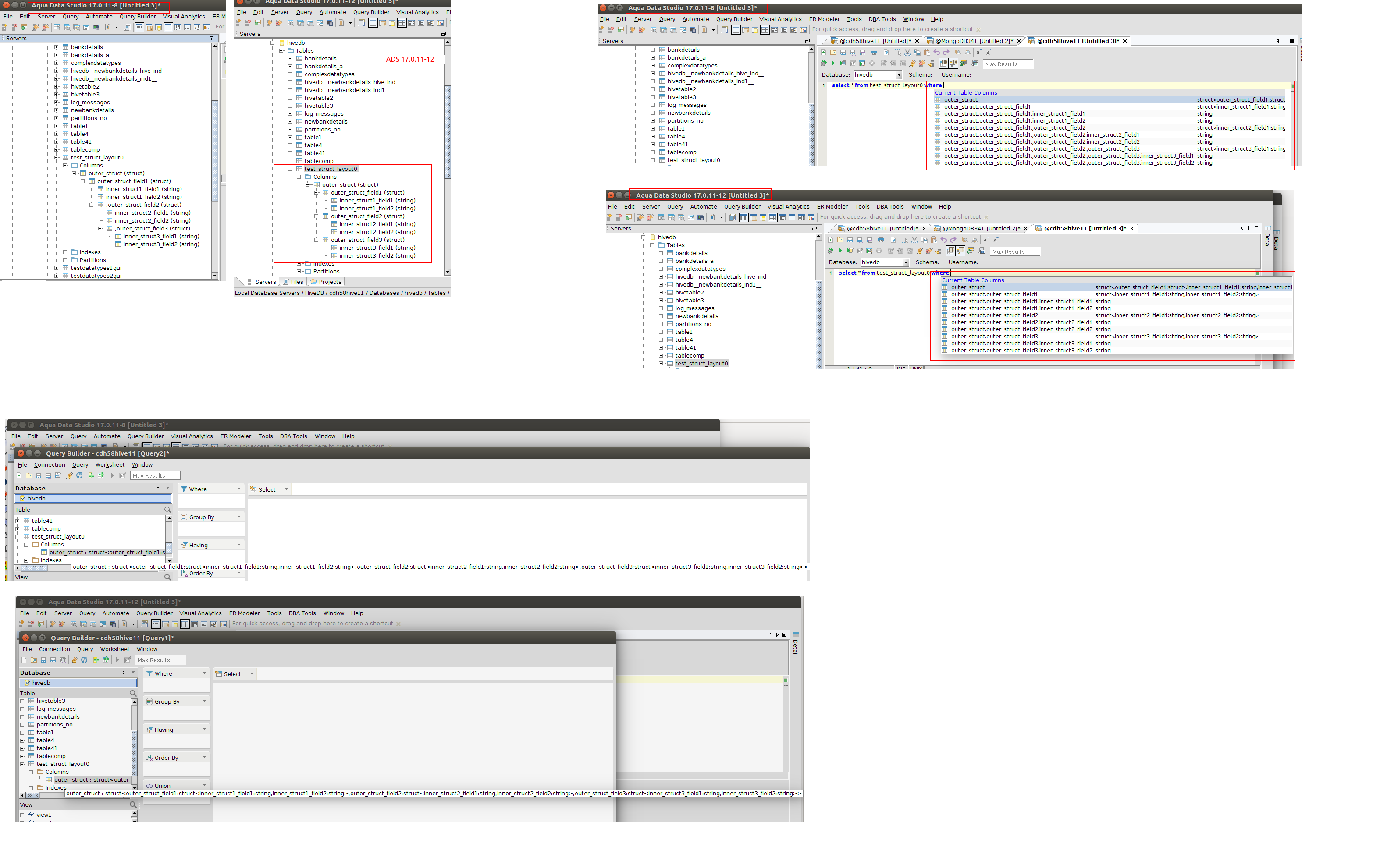 15025: Hive - Nested Struct's are not displaying correctly