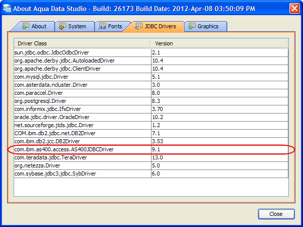 DB2 iSeries JDBC Drivers configuration