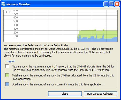 Memory Configuration for Java Virtual Machine in Aqua Data