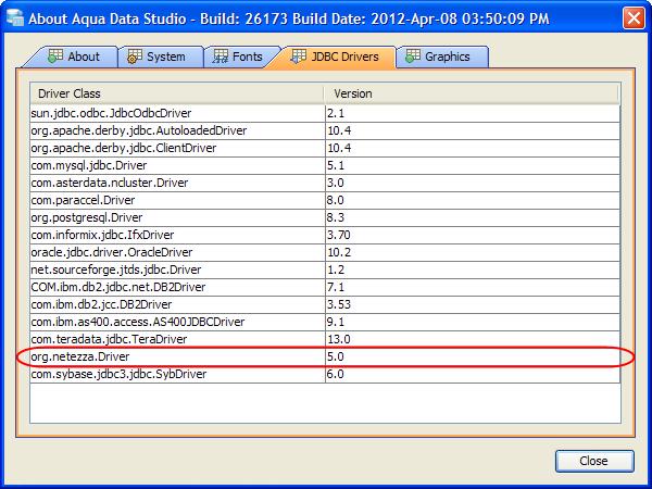 Netezza JDBC Drivers configuration