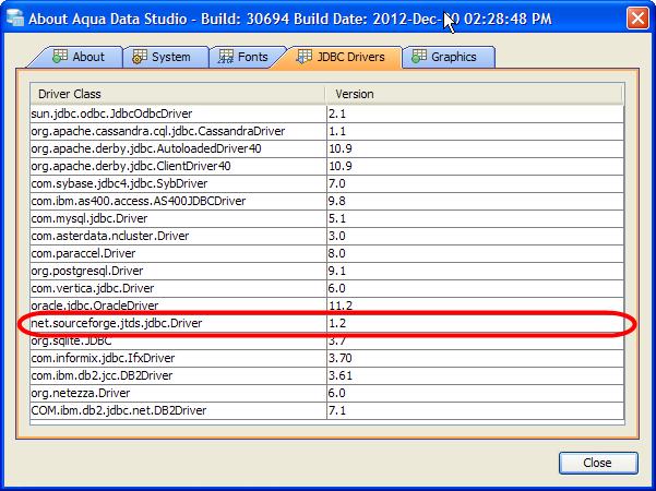 MS SQL Server JDBC Drivers configuration