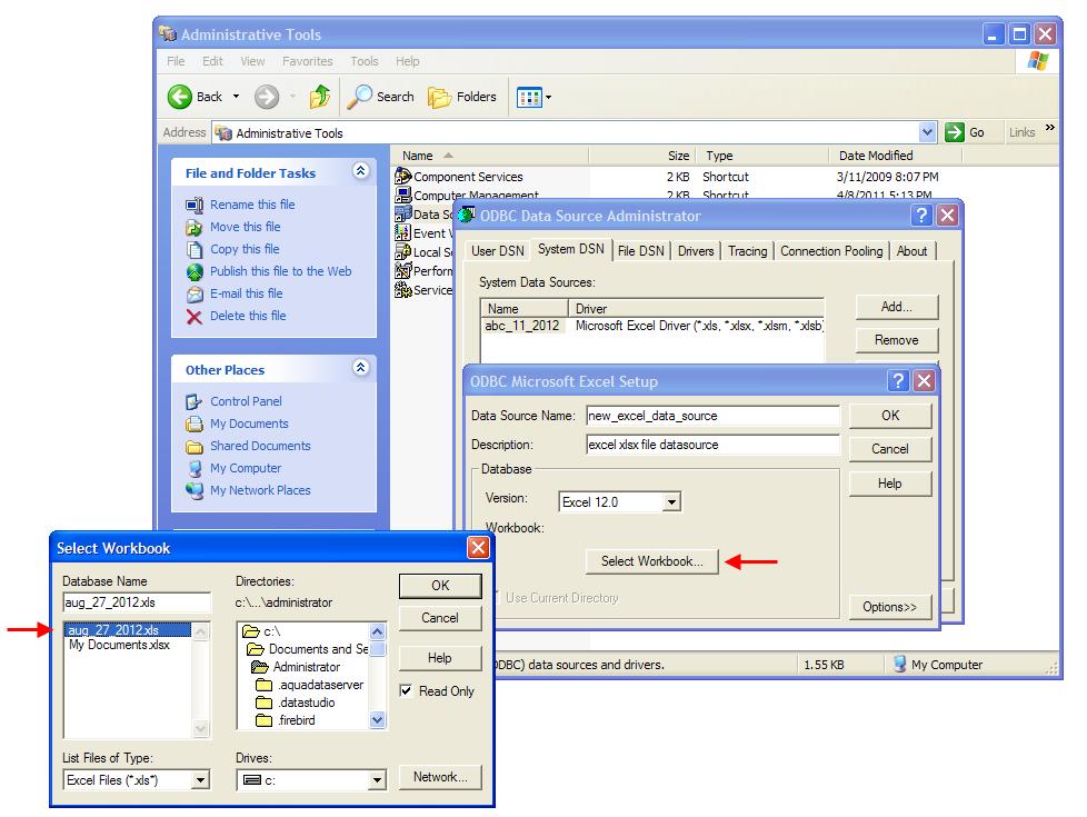 Microsoft Excel Generic ODBC | Documentation 13.0 | Aqua Data Studio