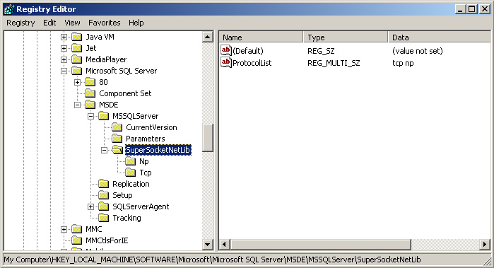 Registering Server Microsoft SQL Server