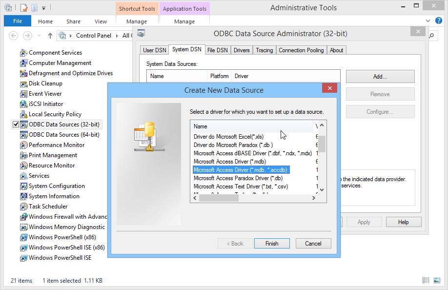Microsoft Access driver mdb accdb