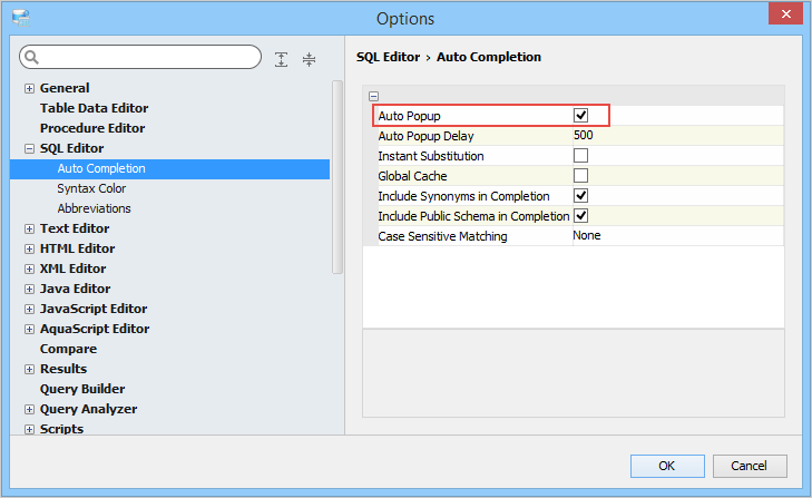Editor Specific Options | Documentation 18 5 | Aqua Data Studio