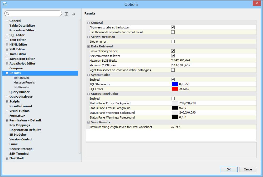 Results Options   Documentation 18 0   Aqua Data Studio