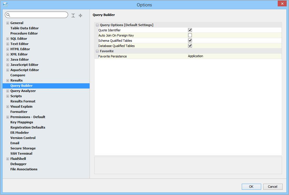 Query Builder Options | Documentation 18 0 | Aqua Data Studio