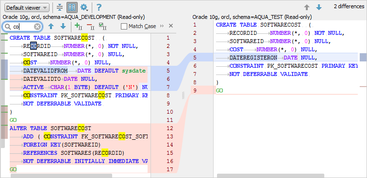 Schema compare result documentation 180 aqua data studio schema compare tool highlights possible matches in yellow you can also copy the source and target sql scripts by using the ctrl keys ccuart Image collections