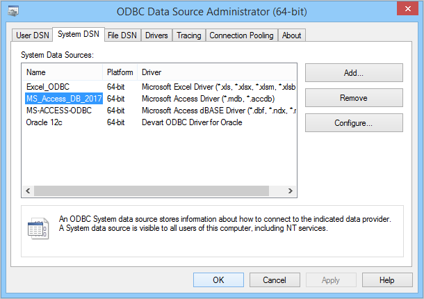 Registering Server Microsoft Access Generic ODBC
