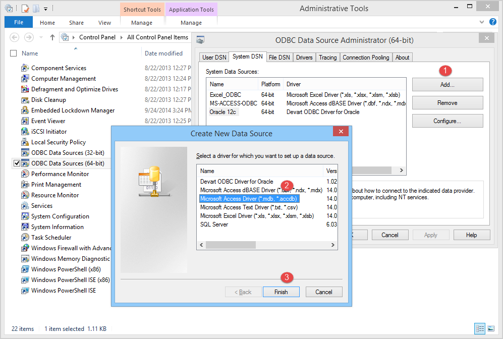 Within The List Of Available Drivers Choose Microsoft Access Driver Mdb Accdb And Click Finish