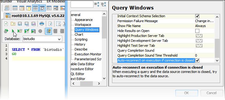 Auto-reconnect on Query Window Execution | New Features